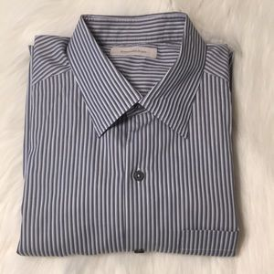Ermenegildo Zegna gray/white/blue stripe Shirt XL